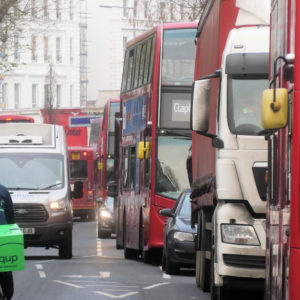Buses and lorries in London traffic jam