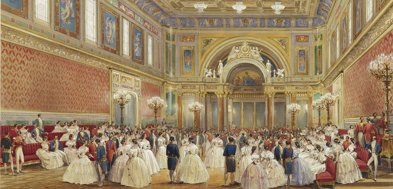 Queen Victoria Buckingham Palace Exhibition Ballroom watercolour
