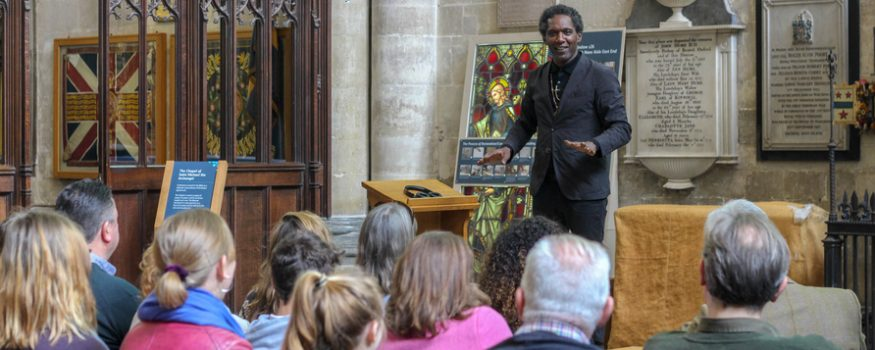 Lemn Sissay speaking at Salisbury Cathedral event for looked after children using VOX