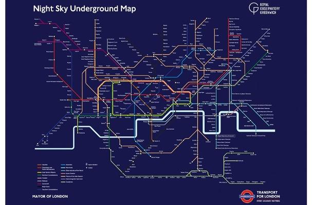 Night Sky Tube Map print