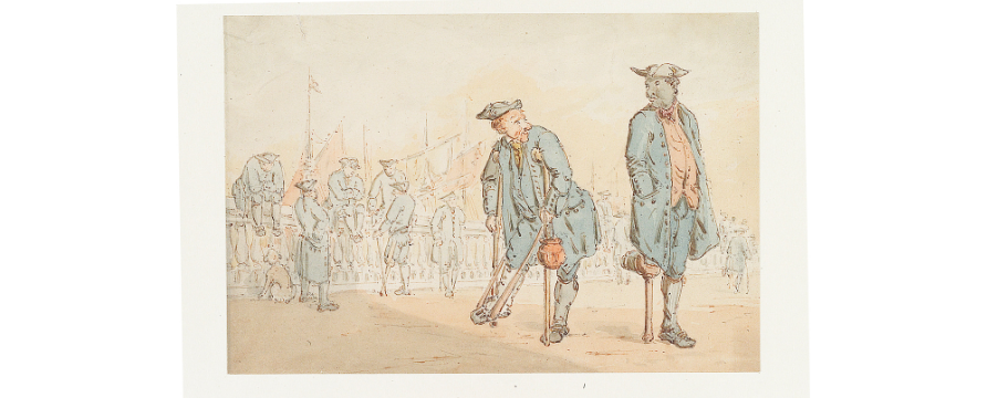 John Thurston, A caricature of Greenwich Pensioners, late 1700s / early 1800s