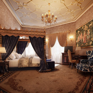 A CGI of a refurbished bedchamber at Thornbury Castle photo credit Paul Massey