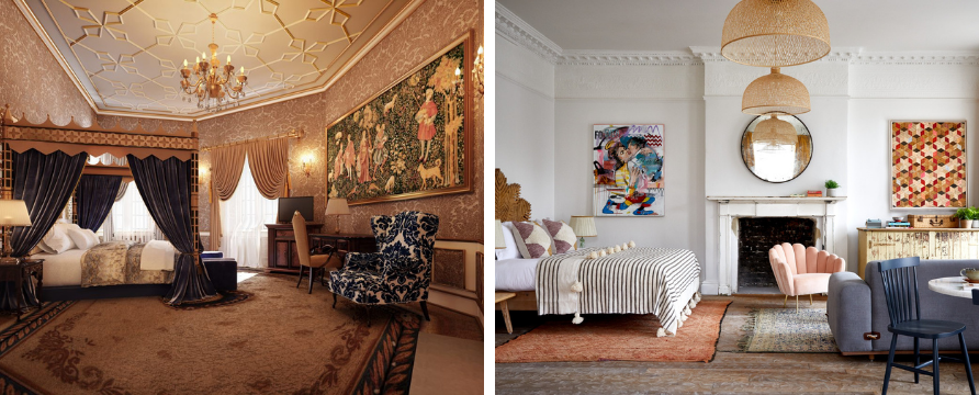 A CGI of a refurbished bedchamber at Thornbury Castle and a bedroom at Artist Residence, photo credit Paul Massey