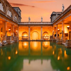 Roman Baths orange sky, James Davies